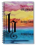 Watercolor H And Serenity Prayer Spiral Notebook