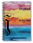 Watercolor J And Serenity Prayer Spiral Notebook