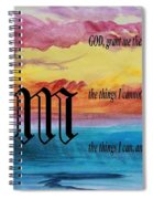 Watercolor M And Serenity Prayer Spiral Notebook