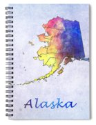 Watercolor Map Of Alaska      United States Spiral Notebook