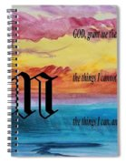 Watercolor N And Serenity Prayer Spiral Notebook
