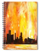 Watercolor Painting Of Skycrapers Of Downtown Chicago As Viewed  Spiral Notebook