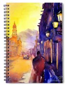 Watercolor Painting Of Street And Church Morelia Mexico Spiral Notebook