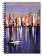 Watercolor Painting Of Vancouver Skyline Spiral Notebook