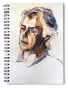 Watercolor Portrait Sketch Of A Man In Monochrome Spiral Notebook