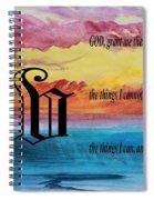 Watercolor V And Serenity Prayer Spiral Notebook