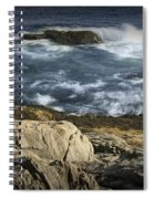 Waves Crashing Against The Shore In Acadia National Park Spiral Notebook