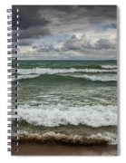Waves Crashing On The Shore In Sturgeon Bay At Wilderness State Park Spiral Notebook