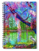 Weeping Beauty, Cherry Blossom Tree And Heron Spiral Notebook