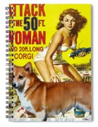 Welsh Corgi Pembroke Art Canvas Print - Attack Of The 50ft Woman Movie Poster Spiral Notebook