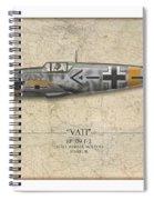 Werner Molders Messerschmitt Bf-109 - Map Background Spiral Notebook