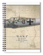 Werner Schroer Messerschmitt Bf-109 - Map Background Spiral Notebook