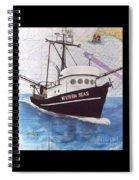 Western Seas Trawl Fishing Boat Nautical Chart Art Spiral Notebook
