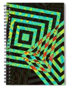 When Squares  Merge Green Spiral Notebook