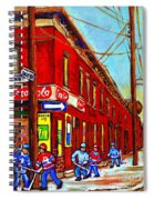 When We Were Young - Hockey Game At Piche's - Montreal Memories Of Goosevillage Spiral Notebook
