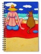 Whimsical Beach Seashore Woman And Dog Spiral Notebook