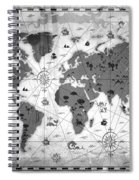 Whimsical World Map Bw Spiral Notebook