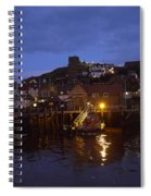 Whitby Lower Harbour And The Rnli Lifeboat Station At Night Spiral Notebook