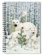 White Animals Red Bird Spiral Notebook