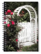 White Arbor With Red Roses Spiral Notebook