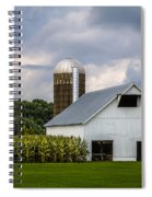 White Barn And Silo With Storm Clouds Spiral Notebook