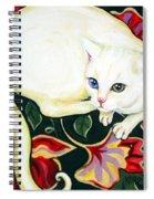 White Cat On A Cushion Spiral Notebook