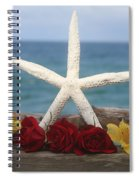 White Finger Starfish And Flowers Spiral Notebook