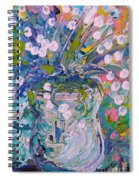 White Flower Abstract Spiral Notebook