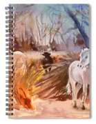 White Horses And Bull In The Camargue Spiral Notebook