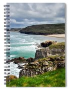 White Horses At Perranporth Beach  Spiral Notebook