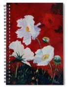 White On Red Poppies Spiral Notebook