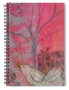 White Peace Bird On Pink Spiral Notebook