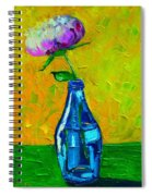 White Peony Into A Blue Bottle Spiral Notebook