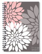 White Pink Gray Peony Flowers Spiral Notebook