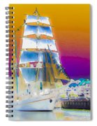 White Sails Ship And Colorful Background Spiral Notebook