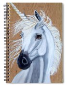 White Unicorn On Wood Spiral Notebook