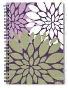 White Violet Green Peony Flowers Spiral Notebook