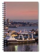 Wider Seattle Skyline And Rainier At Sunset From Magnolia Spiral Notebook