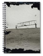 The Wright Brothers Wilbur In Motion At Left Holding One End Of Glider Spiral Notebook