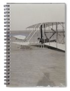 The Wright Brothers Wilbur In Prone Position In Damaged Machine Spiral Notebook