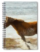 Wild Horse Running Through Water Spiral Notebook