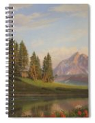 Wildflowers Mountains River Western Original Western Landscape Oil Painting Spiral Notebook
