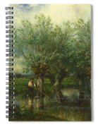 Willows With A Man Fishing Spiral Notebook