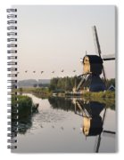 Wind Mill On A Canal, Holland Spiral Notebook