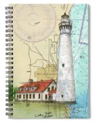 Wind Pt Lighthouse Wi Nautical Chart Map Art Cathy Peek Spiral Notebook
