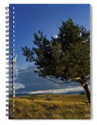Wind Turbine And Tree On The Plateau Of  Cezallier. Auvergne. France. Spiral Notebook