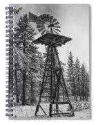 Windmill In The Snow Black And White Spiral Notebook