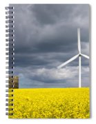 Windmill With Motion Blur In Rapeseed Field Spiral Notebook