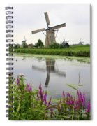 Windmills Of Kinderdijk With Flowers Spiral Notebook