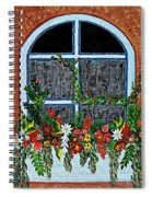 Window Flower Box On A Stucco Wall Spiral Notebook